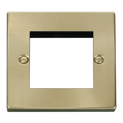 2 Gang Satin Brass Wall Plate Frame. 86x86mm