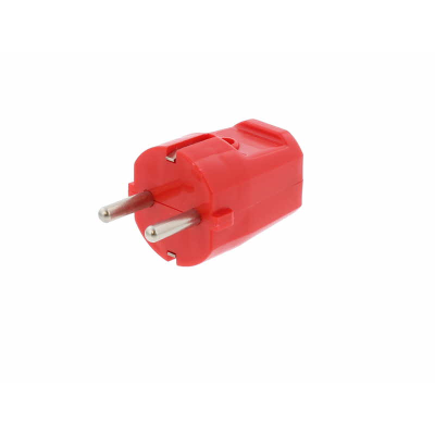 Red European Schuko Straight Rewireable Plug. 16amp  250V