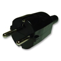 Black Rewireable European Plug Straight