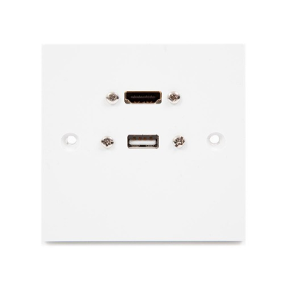 White Single Gang USB A & HDMI Wall Plate
