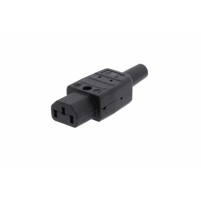 Black C13 Straight Rewireable IEC. 10A 250v IP20