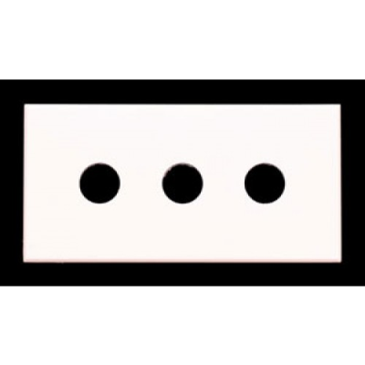 Triple White 6.3mm Hole Clip-In Euro Module. 25x50mm