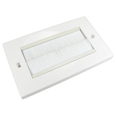 White Double Gang White Brush Wall Plate