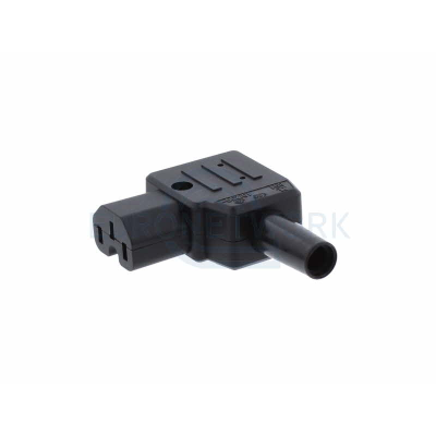 Black C15 Left Angle Rewirable IEC Plug. Hot Condidtion IP20