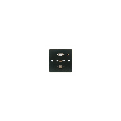 Single Gang Black Metal Wall Plate. HDMI, VGA, USB B and 3.5mm.