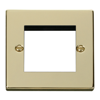 2 Gang Polished Brass Wall Plate Frame. 86x86mm