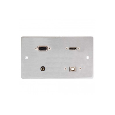 10m Stainless Steel Double Gang HDMI VGA USB B & 3.5mm Wall Plate