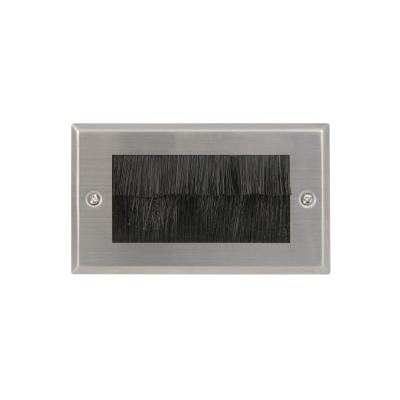 Double Gang Stainless Steel Metal Brush Wall Plate