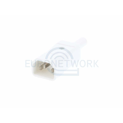 White C14 Straight Rewireable IEC. 10A 250v IP20
