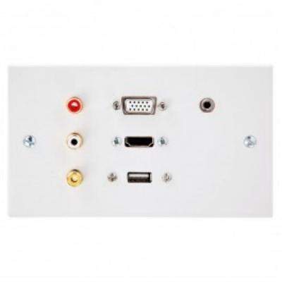 DG HDMI, VGA, USB A, 3.5mm, RCA Wall Plate