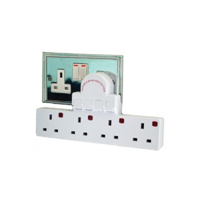 UK 4 Gang Switched Extension Block -  Surge Protected