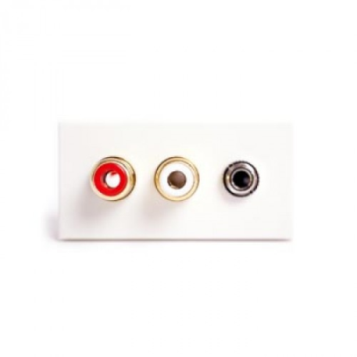 White 2 RCA and 3.5mm Solder Euro Module. 25x50mm