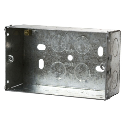 47mm Deep - Double Gang Metal Back Box (Dry Lining / Wall)