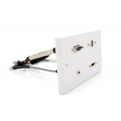 Double Gang Wall Plate HDMI, VGA, USB B-A, 3.5mm. Plug and Play