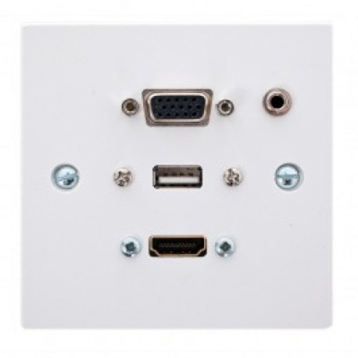White Single Gang Wall Plate. HDMI, VGA, USB A, 3.5mm. 1m to 10 Metres