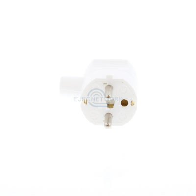 White Schuko Rewirable Plug. Right Angle Moulded Strain Relief  up to 1.5mmsq