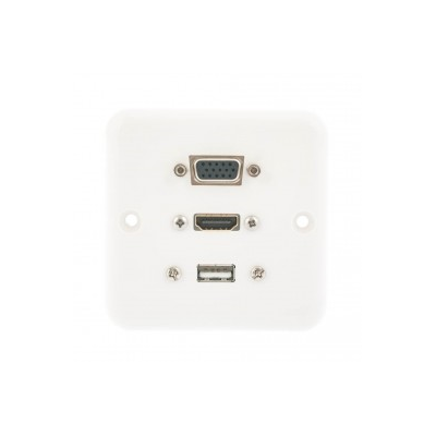 Euro size Wall Plate. SVGA, HDMI and USB A presented with 3 metres of cables attached. Single Gang White Plastic Faceplate 80 x 80mm