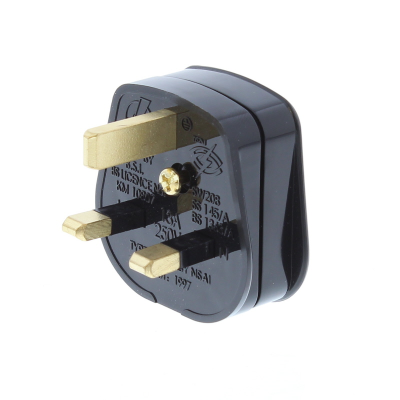 Black 13 Amp Rewireable UK Plug