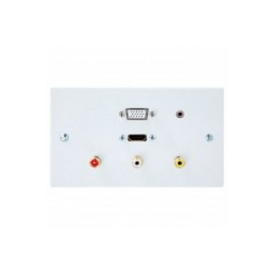 Double Gang HDMI, VGA, 3.5mm, 3 RCA Wall Plate.