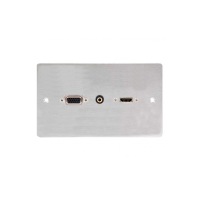 Svga, Hdmi 3.5Mm Wall Plate Double Gang Metal Faceplate