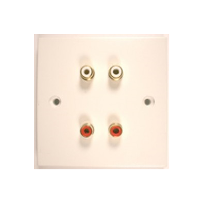 White Single Gang 4 RCA (RWRW) Solder Wall Plate.