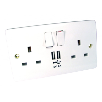 Double Gang Uk Power & Usb Wall Plate