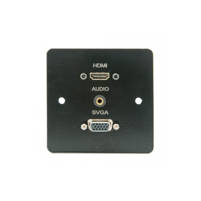 Black Metal Single Gang HDMI, VGA, 3.5mm Wall Plate
