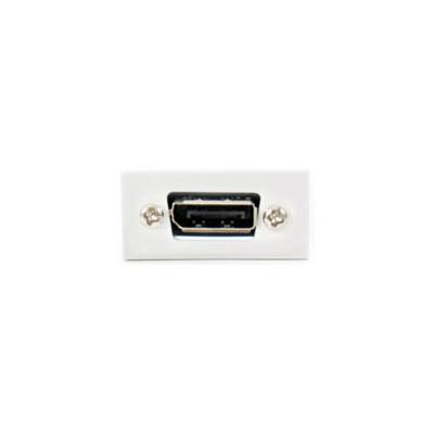 White 5m DisplayPort Euro Module. 25x50mm