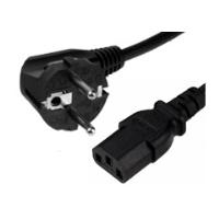 2m European Schuko Right Angle Plug to C13 Mains Lead - Black
