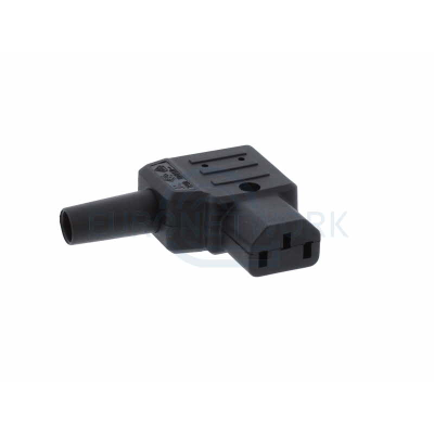 Black C13 Right Angle Rewireable IEC 10A 250V IP20
