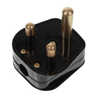 Black 15 Amp 3 Pin Round Plug Bs546