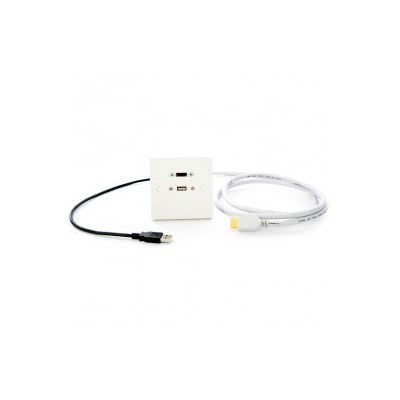 1m White Single Gang HDMI, USB A Wall Plate