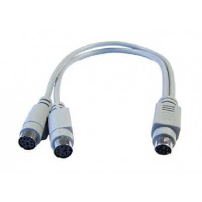 PS/2 Splitter Cable, 6 Pin Mini Din Splitter. Male to 2 x Females. 0.25 Metres