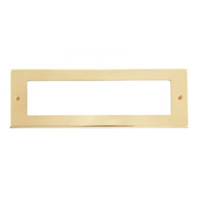 8 Gang Satin Brass Wall Plate Frame. 250x86mm