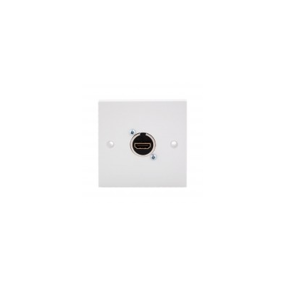 Single Gang White HDMI Wall Plate. 40mm Connector.